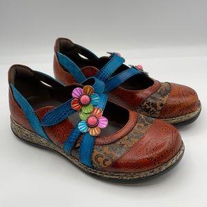Socofy vintage colored band leather flats
